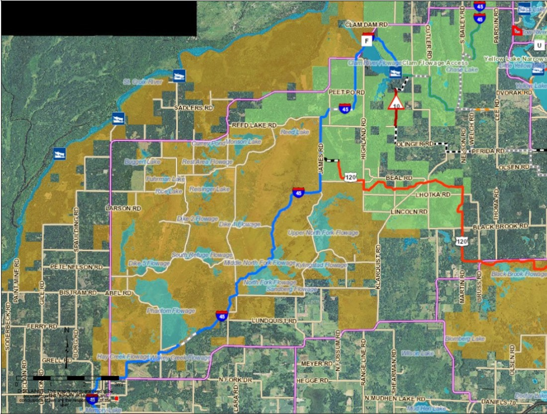 Map Grantsburg to Yellow Lake